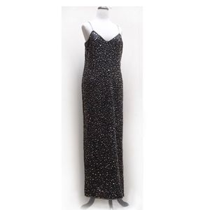 Beaded Silk gown, Size 14, silver on black